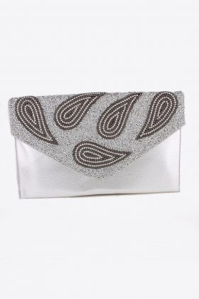 Silver Clutch with Crystal