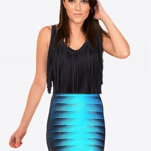 Aqua and Black Bandage Stretchy Skirt
