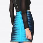 Aqua and Black Bandage Stretchy Skirt back view