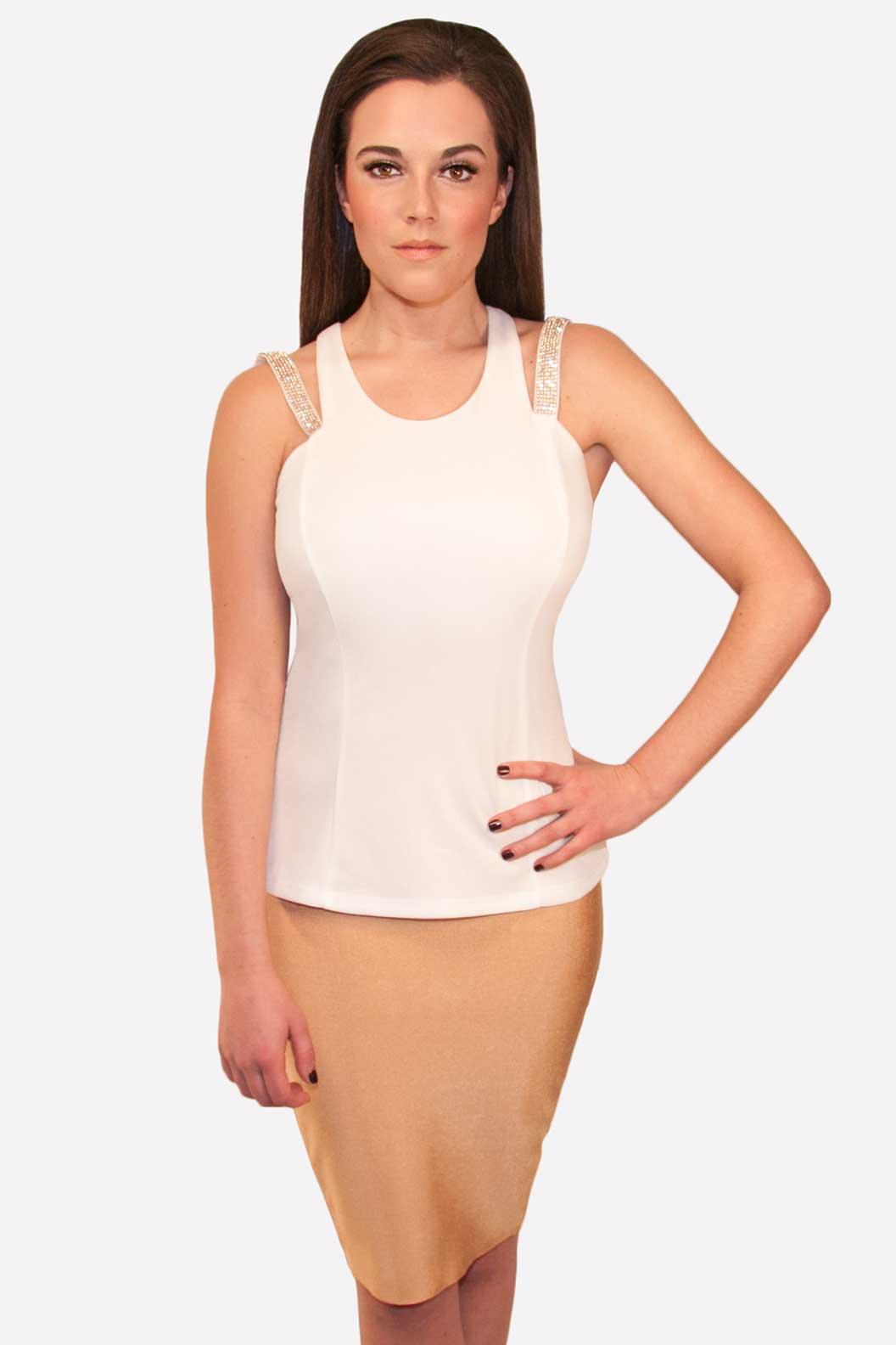 white stretchy top with gold accents