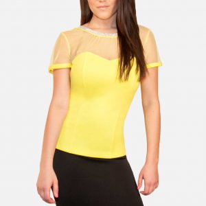Yellow Rhinestone Top with Sheer Mesh